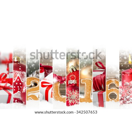 Photo of red Christmas mix with gifts and Christmas balls; white space for text - stock photo