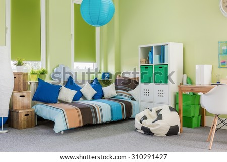 Photo of relaxing and study space in spacious room - stock photo