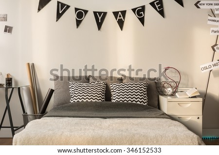 Photo of relaxing area with comfortable double bed - stock photo