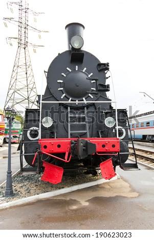 Photo of Russian rail road locomotive - stock photo