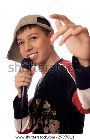 Photo of smiling boy singing a rap song - stock photo