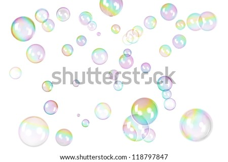 photo of soap bubbles with rainbow gradient on white - stock photo
