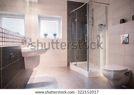 Photo of solid fixture in commodious new style bathroom - stock photo