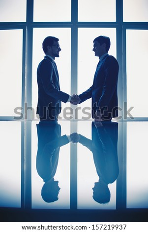 Photo of successful businessmen handshaking after striking deal - stock photo
