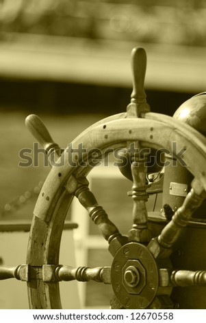 Photo of the Boat steering wheel - stock photo