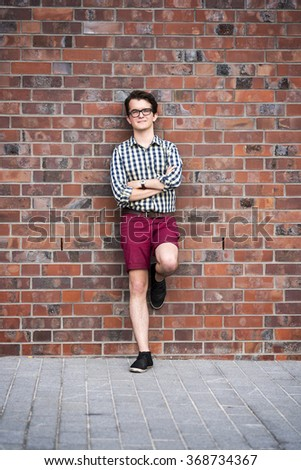 photo of the city portrait of a young man - stock photo