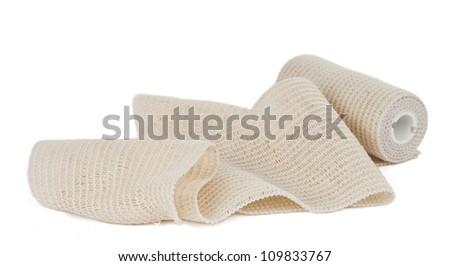 photo of the elastic bandage against the white background - stock photo