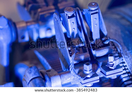 photo of the historic machines in macro photography, detail,the color of the object obtained by lighting in the shooting phase and not in the post-production - stock photo