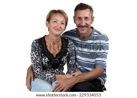Photo of the hugging old man and woman on white background - stock photo