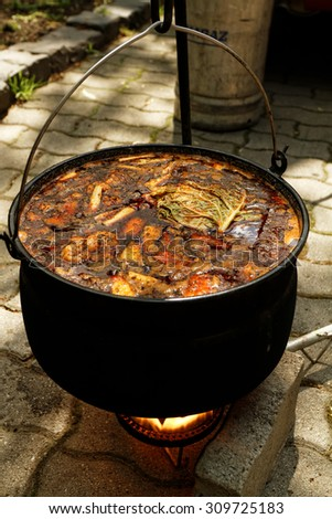 Photo of the mouth-watering goulash in cauldron - stock photo