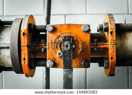 photo of the old pipe chemical in factory - stock photo