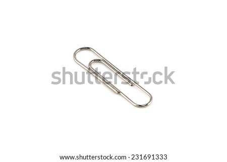 Photo of the one steel paperclip on white background - stock photo