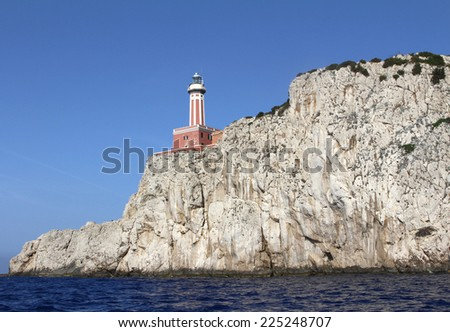photo of the Punta Carena lighthouse on the Island of Capri in Italy - stock photo
