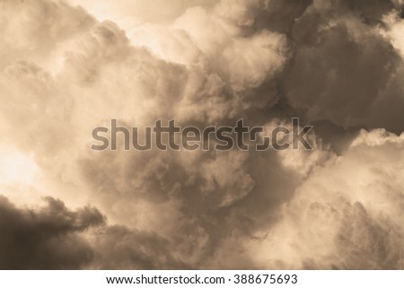 Photo of the sky with big clouds - stock photo