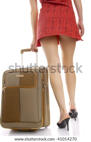 Photo of the woman legs with a suitcase. Isolated. - stock photo