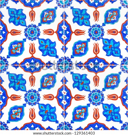 Photo of Turkish Tiles from historical Ottoman mosques in Istanbul, Turkey - stock photo