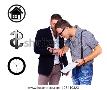 Photo of two friendly business partners - stock photo