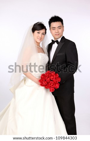 Photo of Wedding day of young asian couple - stock photo