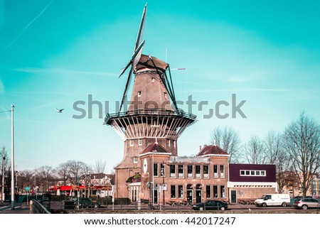 Photo of Windmill in Amsterdam, Netherlands - stock photo