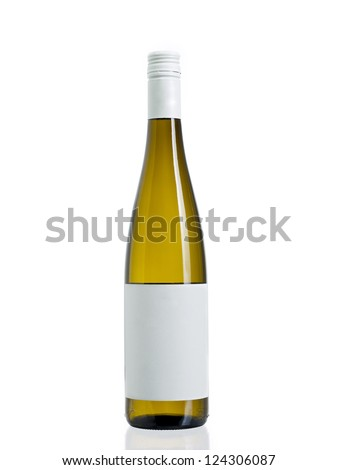 Photo of wine a sealed wine bottle with a blank label. - stock photo