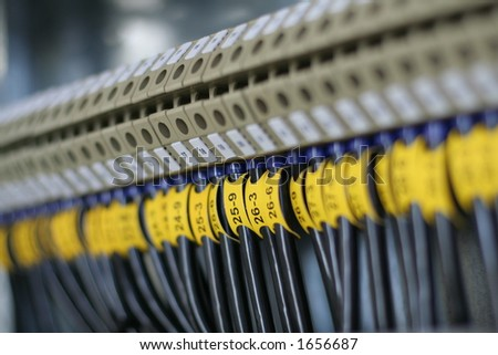 Photo of wiring (wirework). Focus on center - stock photo