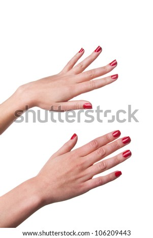 Photo of woman hands with red nails isolated on white - stock photo