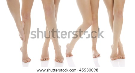Photo of woman legs. Isolated. - stock photo