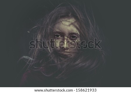 Photo of young beautiful lady with magnificent dark hair, autumn toned - stock photo