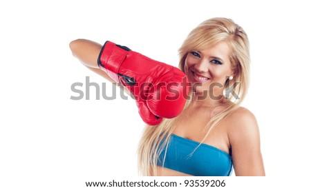 Photo of young wonderful woman wearing boxing glove - stock photo