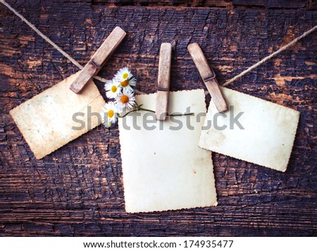 photo paper  on wooden background with spring symbol-white flower/ Spring background - stock photo