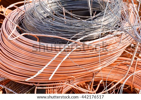 Photo Picture Heap of Scrap Metal Ready for Recycling - stock photo