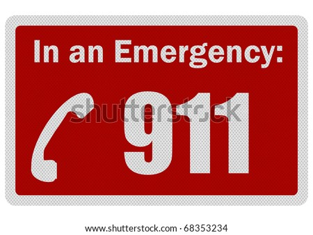 Photo realistic metallic, reflective 'Emergency 911' sign, isolated on white - stock photo