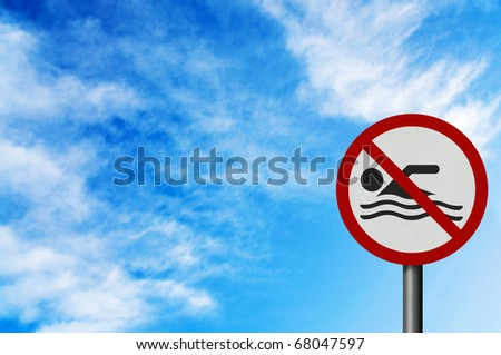 Photo realistic 'no swimming' sign, with space for text overlay - stock photo