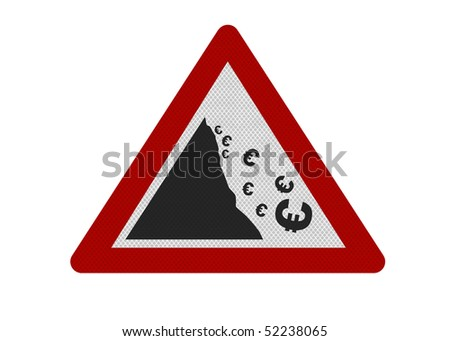 Photo realistic reflective metallic 'falling Euro' sign, isolated on a pure white background. - stock photo