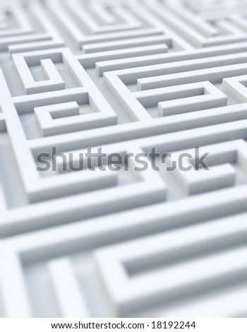 photo realistic rendering of a white maze - stock photo