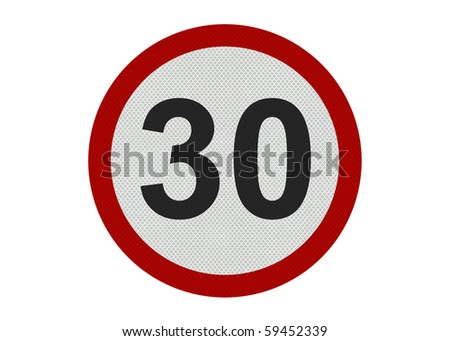 Photo realistic 'thirty miles per hour speed limit' sign, isolated on a pure white background - stock photo