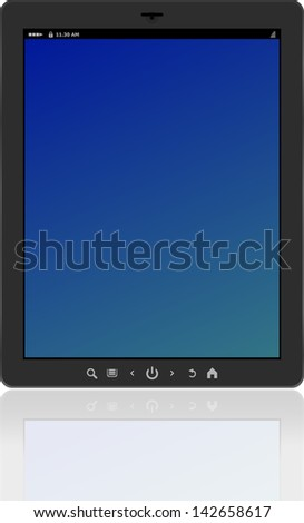 Photo-realistic vertical tablet pc set with blue screen, raster - stock photo