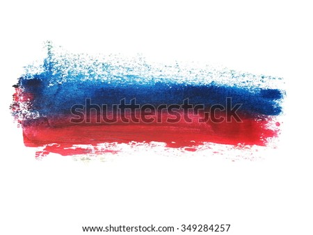 photo red blue grunge brush strokes oil paint isolated on white background - stock photo