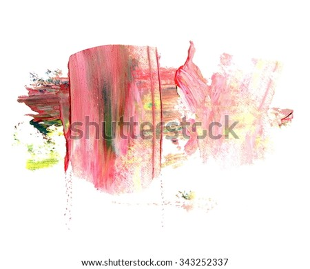 photo red yellow grunge brush strokes oil paint isolated on white background - stock photo