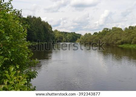 Photo river landscape - stock photo