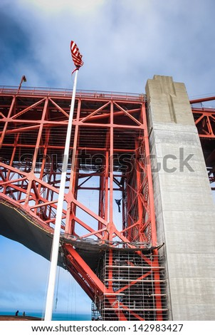 Photo showing Golden Gate Bridge Repairs taking place in 2007 - stock photo