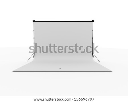 Photo stage with white canvas isolated on white background - stock photo