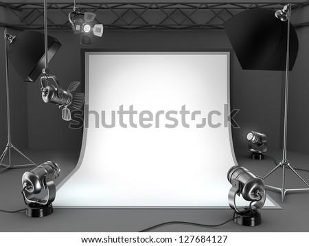 Photo studio equipment background. - stock photo