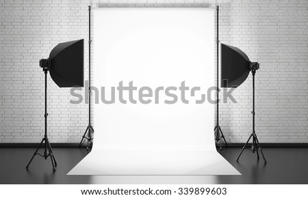 Photo studio equipment on a brick wall background. 3d render illustration. - stock photo