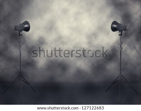 photo studio in old grunge room with fog and smoke - stock photo