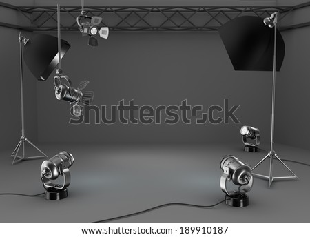 Photo studio room, light equipment - stock photo