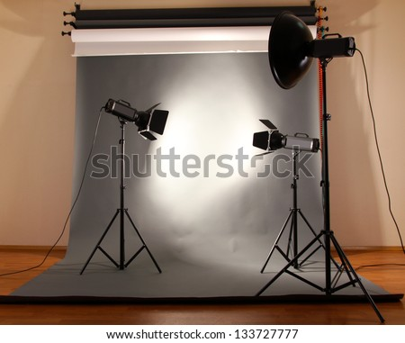 photo studio with lighting equipment - stock photo