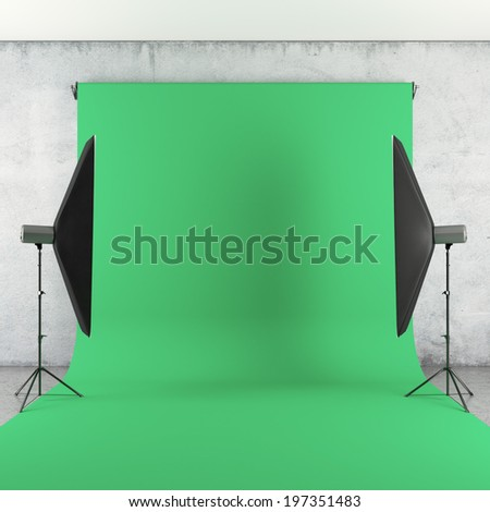 Photo Studio with Lights and Green Backdrop - stock photo