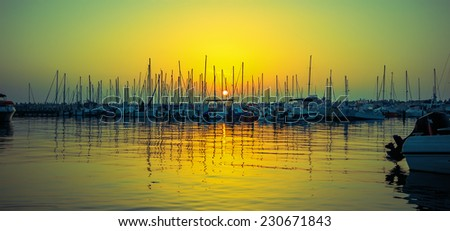 photo sunset on the marina in Ashkelon - stock photo