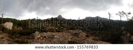 Photo taken after a heavy storm in the mountains of Corsica - stock photo
